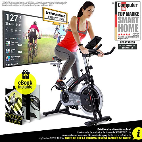 Sportstech Bicicleta estática Profesional SX200 - Marca de Calidad Alemana -  Eventos en Video & App Multijugador,  Volante de Inercia de 22Kg - Bicicleta con Correa de transmisión - hasta 125Kg con eBook