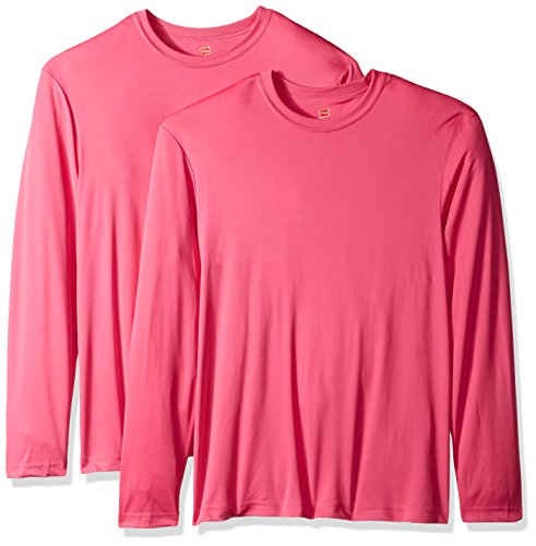 Hanes Men's Long Sleeve Cool DRI T-Shirt UPF 50+ (Pack of 2), Wow Pink, Large