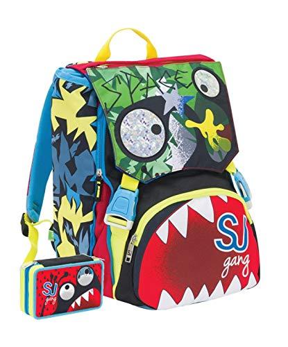 Schoolpack Zaino Scuola Seven SJ Gang Faccine Estensibile + Astuccio Completo 3 Zip