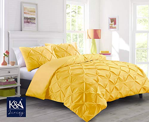 K&A Pintuck Pinch Pleat Duvet Cover Bedding Set including 2 Pillowcases with Zipper Closure, Easy Care Machine Washable, Poly-Cotton Blend (Double, Yellow/Mustard)
