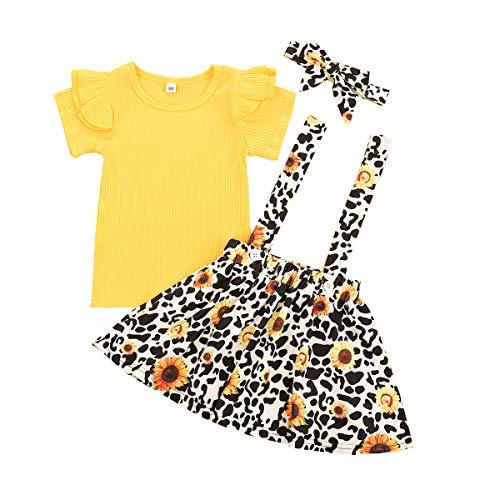 Set di vestiti per neonati a maniche corte + gonna o gonna corta in cotone, 2 pezzi da 3 mesi a 4 anni H giallo 4-5 Anni