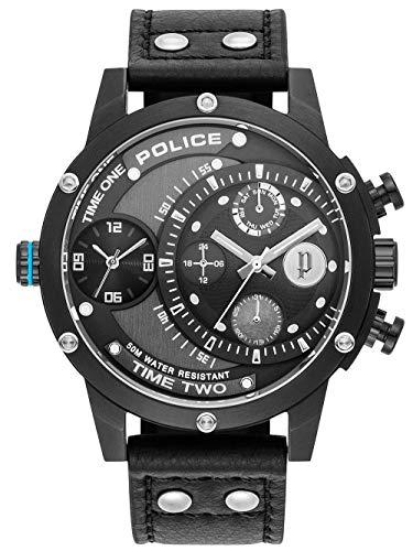 Police Unisex Erwachsene Analog Quarz Uhr mit Leder Armband PL15983JSB.61