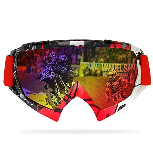 GANZTON Verspiegelt Crossbrille Motorradbrillen Anti Fog UV Schutzbrille Sportbrille Fahrradbrille Skibrille mit verstellbares Band, weiteres Blickfeld für Motorradfahren und Outdoor Sport(Rot)