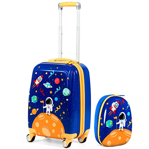 GYMAX 2Pc Kids Luggage, 12' & 18' Children Carry On Suitcase with 4 Spinner Wheels, Hand Trolley Case for Boys and Girls Travel School (Universe Blue)