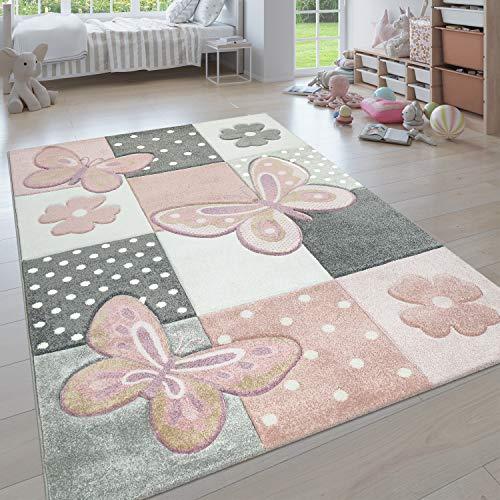 Paco Home Kinderteppich, Moderner Kinderzimmer Pastell Teppich, Niedliche 3D Tiermotive, Grösse:120 cm Rund, Farbe:Mehrfarbig 3