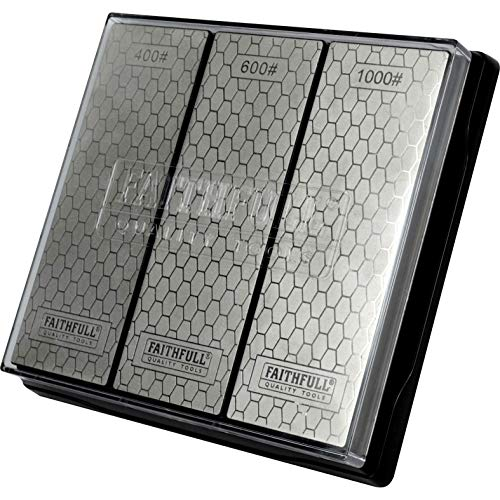 Faithfull FAIDWTRIPLE Diamant-Schleifstein-Schleifstein-Set, 3 Steine: 400 g grob, 600 g mittel und 1000 g fein, inkl. rutschfester Grundeinheit