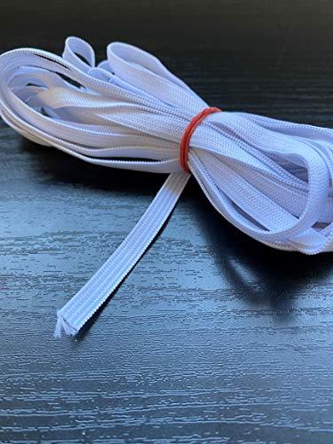 zipworld 5 Meter Gummiband Gummilitze gewebt (weiß, 5 mm Breit)