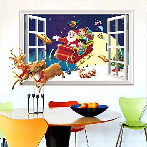 ZYUN 3D Window Wall Sticker Santa Claus And Deers Wall Decal Removable Stickers Art Decals Mural For Christmas Festival Holiday Decoration