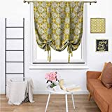 Roman Curtains for Windows Bedroom Blackout Curtains Aquarium Fishes with Stripes on Floral Composition Background Marigold Beige Yellow with Beautiful Patterns Suitable for Small Windows