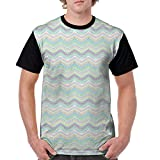 Man's T Shirts,Hand Painted Style Tribal Design with Zigzag Triangle Motifs Ethnic Stripe Line M