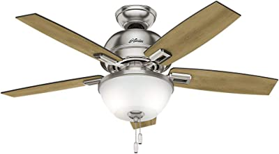 """Hunter Donegan Indoor Ceiling Fan with LED Light and Pull Chain Control, 44"""", Bronze/Dark"""