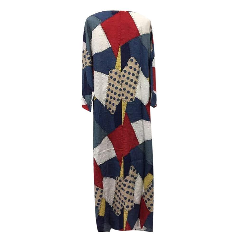 Clothful ?? Women Dress, Women Half Sleeve Color Block Multicolor Loose Bohe Beach Long Robe Cotton Dress