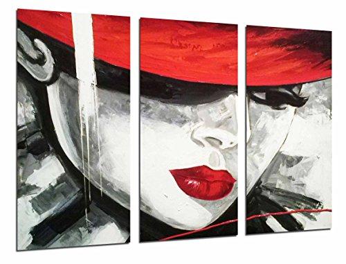 Cuadro Fotográfico Mujer Sombrero y Labios Rojo, Pintura Nolstalgia Tamaño total: 97 x 62 cm XXL