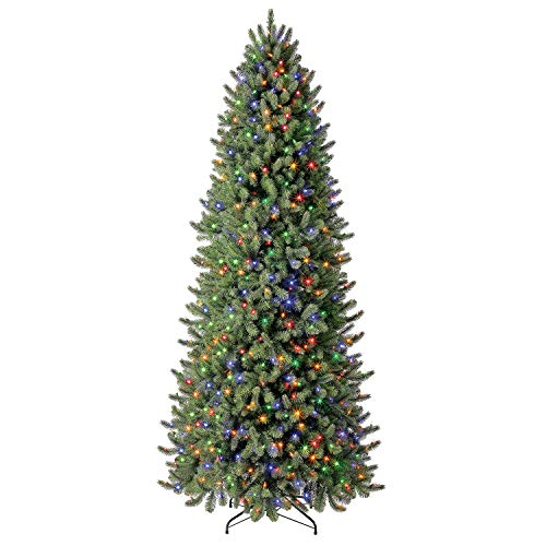 Evergreen Classics 9 ft Pre-Lit Vermont Spruce Quick Set Artificial Christmas Tree, Remote-Controlled Color-Changing LED Lights