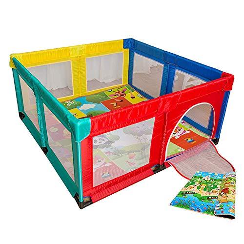 LXDDP Parc Pliant avec Matelas sécurité Toddlers Play Yard avec Porte Anti-Renversement Baby Nursury Center Play Yard sans balles (Taille: 150 × 150cm)