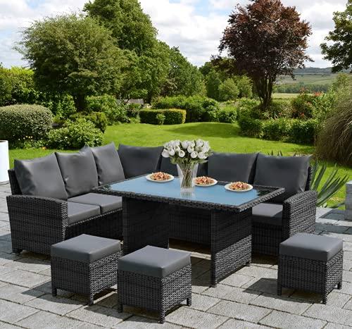 VEGGO Gardeneo Stunning Corner Sofa Dining Set Mix Grey with Dark grey cushions! PE Rattan, UV Protection and Weather Resistant (Mix Grey)