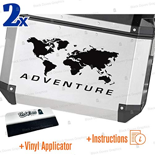 2pcs World ADVENTURE Universal Stickers for Various Types of Suitcases (Black)