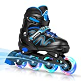ERNAN Inline Roller Skates,Adjustable Inline Skate for Kids and Adults with Full Light Up Wheels,Outdoor Roller Blades for Boys and Girls, Men and Women (Blue)