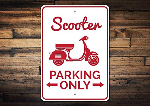 """Scooter Parking Sign, Scooter Sign, Scooter Gift for Scooter Rider, Moped Sign, Scooter Decor, Moped Gift - Quality Aluminum 8"""" x 12"""" Sign"""