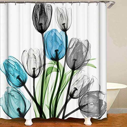 ilmobile Tulips Shower Curtain for Bathroom, Abstract Flower Shower Curtain, Waterproof Fabric Black Green Elegant Shower Curtain with Hooks 72x72 Inchs (C28)