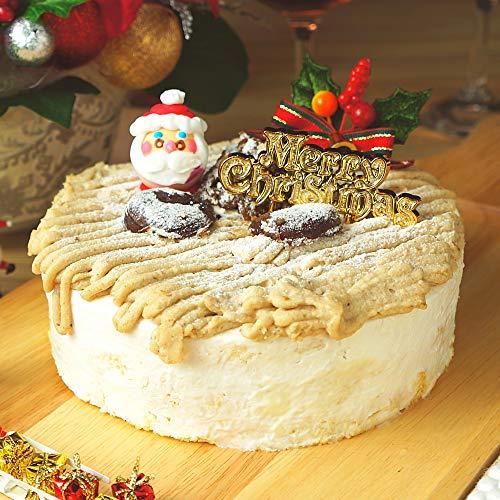 【予約注文】TABeRUN たべるン クリスマスケーキ 2020 モンブランプリンケーキ クリスマスプレート 柊 サンタ 冷凍 ホールケーキ 5号