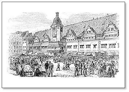 Stadhuis en marktplaats in Leipzig, Duitsland. Handgetekende Illustratie Classic Koelkast Magneet