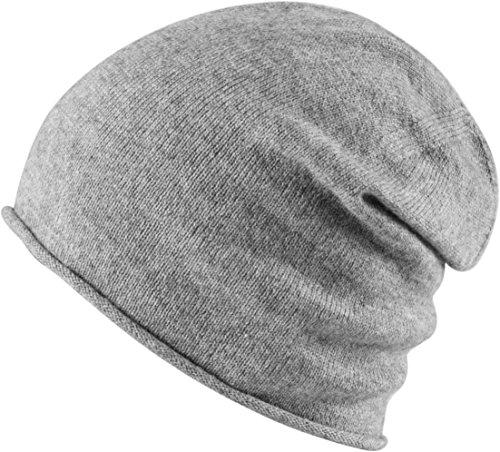 MSTRDS Unisex Cashmere Slouch Beanie ht. Grey One Mütze mit 40% Kaschmir für Damen und Herren