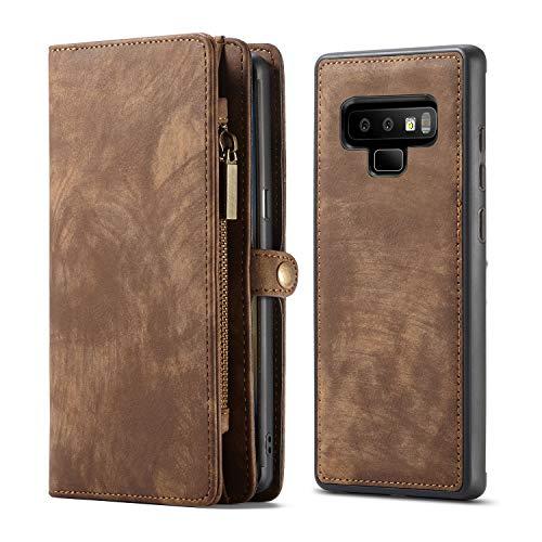 KelaSip Custodia in Pelle per Galaxy Note 9, Cover Portafoglio con funzione di supporto [11 slot per schede] [3 slot per contanti] [1 tasca con zip], Marrone