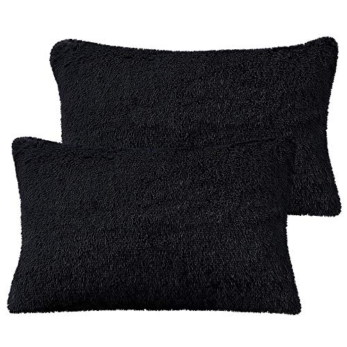 PiccoCasa Pack of 2 Black Faux Fur Pillow Cases Fluffy Shaggy Plush Long Hair Fur Soft Throw Pillow Covers Shams with Zipper Closure Standard 20x26 Inch