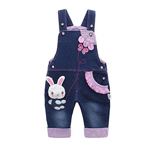 Kidscool Baby Girls Casual Soft Denim Overalls Rabbit,18-24 Months