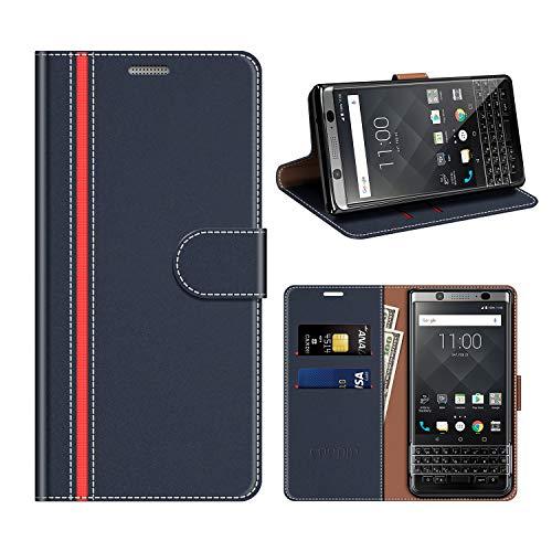 COODIO BlackBerry KEYone Hülle Leder, KEYone Kapphülle Tasche Leder Flip Cover Schutzhülle Rugged für BlackBerry KEYone Handyhülle, Dunkel Blau/Rot
