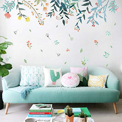 2 Sheets Large Size Flower Wall Decals for Living Room Flowers Decorations for Wall Stickers for Bedroom Living Room Removale Art Decal 2 PCS