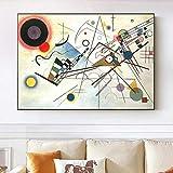 HJKLP Wassily Kandinsky Famosa Pintura ComposicióN VIII Poster Abstracto Y LíNea GeoméTrica Impresiones ArtíSticas De Pared Cuadros De Decoracion De HabitacióN 60x90cm Sin Marco