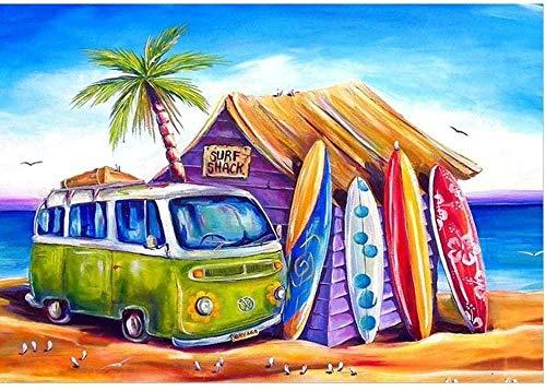 Bricolaje Kit De Pintura por NúMeros, Pintar por Numeros sobre Lienzo para Adultos NiñOs Principiantes Sin Marco-Coche De Tabla De Surf De Playa Junto Al Mar(40x50cm)