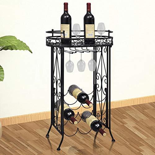 VIENDADPOW Botellero de Metal con Soportes para Copas para 9 Botellas