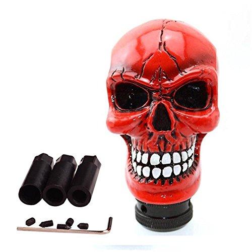 SMKJ Universal Schaltknauf Schädel Schaltknüppel Skull Totenkopf Gießharz Gear Shifter Knob für Most Manuelles oder automatisches Getriebe Ohne RGA-Rot