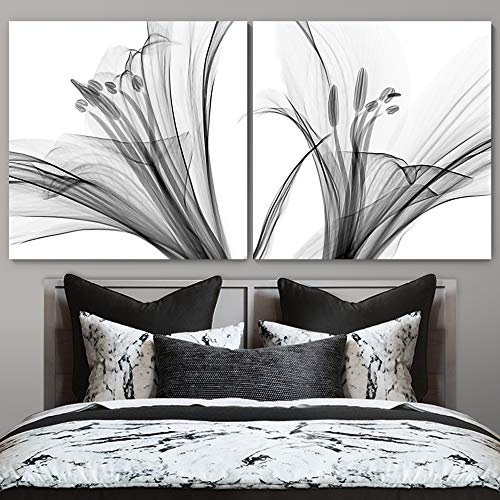 """bestdeal depot High Contrast Flower / Black and White Botanical Chic CloseUp Realism 2 Panel Canvas Wall Art Prints for Living Room,Bedroom Ready to Hang - 16""""x16"""" x 2 Panels"""