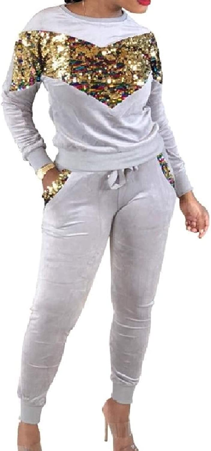 color&W Womens Sexy Workout Sequin Patched Tracksuit Jog Set