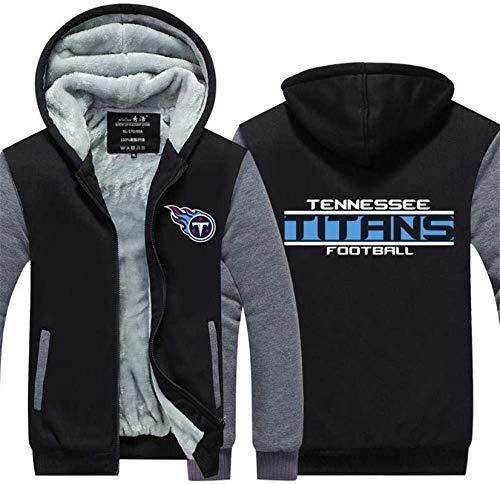 Sudadera Unisex, Hombres Chaqueta con Cremallera con Capucha suéter de Rugby Fan Tennessee Titans Entrenamiento Deportivo Costura de Manga Larga Escudo - Adolescente Negro-XXXXXL
