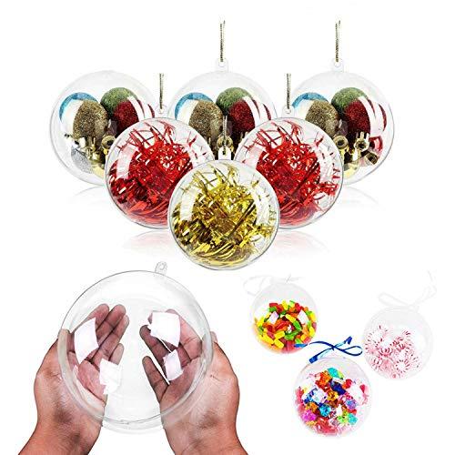 WELLXUNK® Boule Plastique, Boule de Décoration en Plastique, Transparentes Plastique Boules, Boules de Noël Transparentes, pour La Fête De Mariage Noël Décor À La Maison (20 Pièces) (5CM)