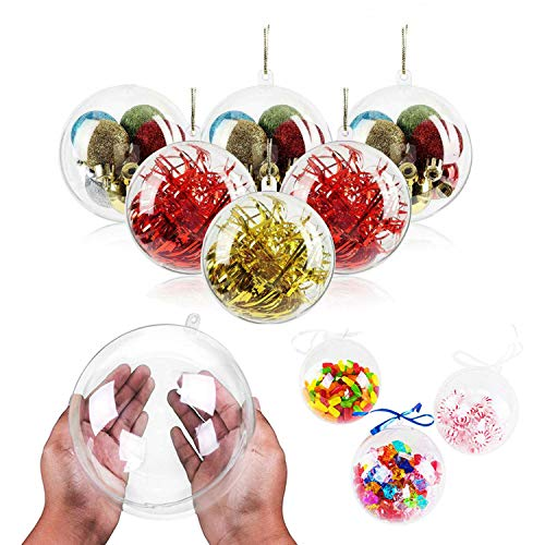 WELLXUNK® Bola Transparente, Plástico Bolas de Árbol, Transparente para Manualidades Bola, Bolas Rellenables, Bola de Navidad Transparente de Adorno Rellenable para Manualidades (20 Piezas) (5CM)
