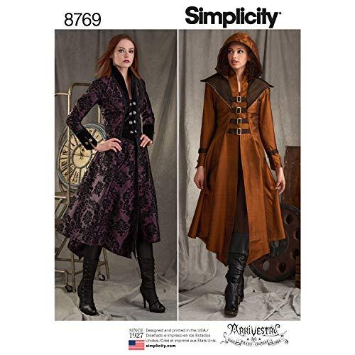Simplicity 8769 Schnittmuster Damen Mittelalter Cosplay und Ren Faire Kostüm Mantel Gr. 34-42