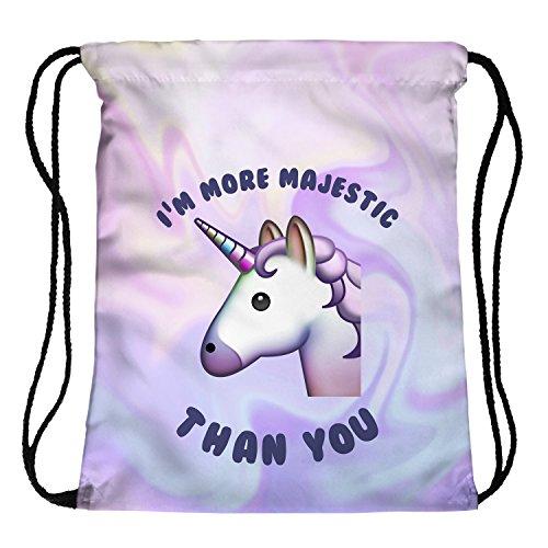 Fringoo - Mochila de cuerdas (para niños, niñas y adolescente), color Emoji Unicorn, tamaño H40 x L33 cm, volumen liters 4
