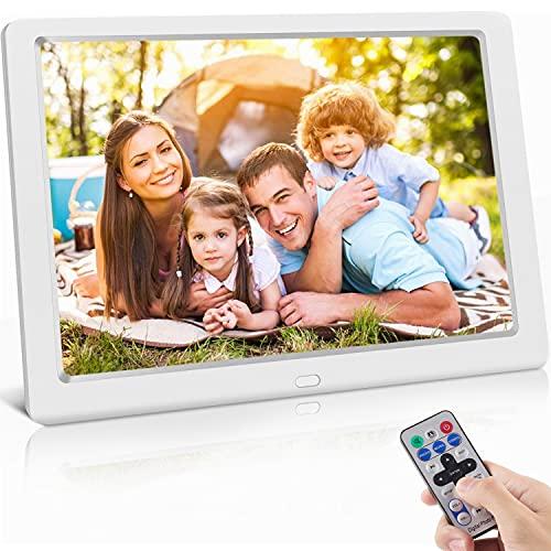 Digitaler Bilderrahmen 10 Zoll Hochauflösend (1024x 600) Video/Foto/Musik-Player, Digitaluhr, Kalender, Wecker, Elektronischer Fotorahmen mit Fernbedienung, unterstützt USB-und SD-Karte, Weiß