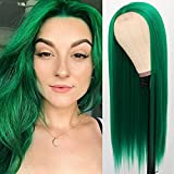 QD-Tizer Long Straight Hair Green Color Synthetic None Lace Wigs for Fashion Women Heat Resistant Synthetic Hair Wigs 24 inch