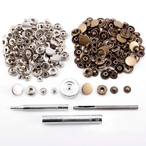 Surepromise 50 Sets Druckknöpfe 15mm Metall und 4tlg Werkzeug Locheisen Handschlageisen Nähfrei für Leder Handwerk Jacke Brieftasche Handtasche Basteln DIY