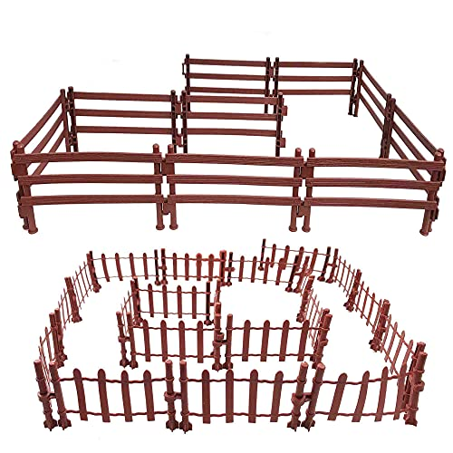 PPXMEEUDC 30 PCS Horse Corral Fencing Accessories Playset Fences Toys for Farm Barn Paddock Horse Stable Farm Animal Fence Panel Paddock Toy Educational Present for Toddlers Kids