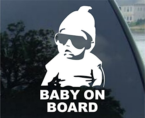 So Cool Stuff Hangover Baby On Board Decal Laptop Tablet Skateboard car Windows (5' White)