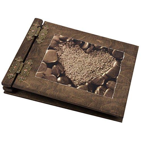 Holz Album Herz Stein Fotoalbum Hochzeitsalbum Gästebuch aus Holz Holzbuch Aldecor