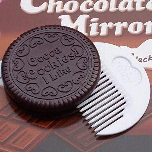 Bmstjk Mini Miroir de Maquillage de Cookie au Chocolat Mignon, Peigne de Miroir Compact cosmétique Portable, pour Le Maquillage de garçon et de Fille